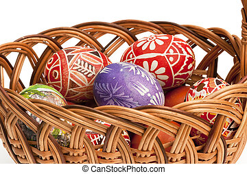 basket full of Ester Eggs - Detail of the painted Easter...