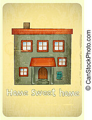 Cartoon Houses Postcard. Urban Condo on Vintage Background....