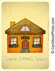 Cartoon Houses Postcard. Country Cottage on Vintage...