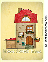 Cartoon Houses Postcard. House with Garage on Vintage...