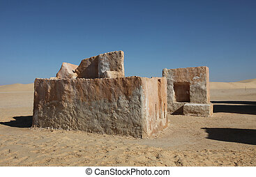 Building in the desert - Tunisia - Abandoned decorations for...