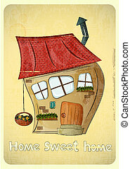 Cartoon Houses Postcard Crooked House on Vintage Background...