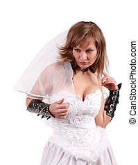 Bride in a white dress with a white background