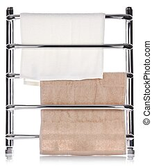 Modern heated towel rail isolated on white background