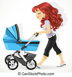 Cute mother with a blue pram