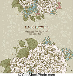 Magic flowers dream vintage background
