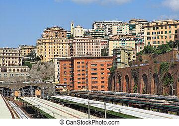 Genoa city skyline view.