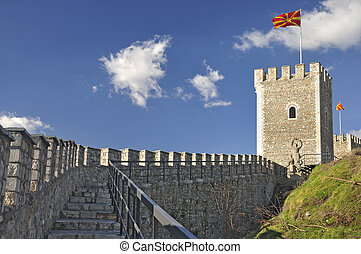 Stone fence and watchtower - Kale fortress, Skopje - A stone...
