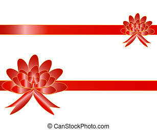 The big red bow with two tapes