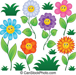 Cartoon flowers collection 1 - vector illustration