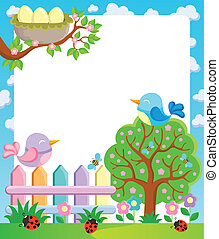 Frame with spring theme 1 - vector illustration.