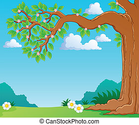 Tree branch in spring theme image 1 - vector illustration.