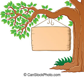 Tree branch in spring theme image 3 - vector illustration.
