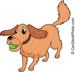 A dog playing with the ball - Illustration of a dog playing...