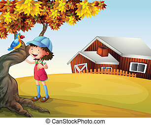 A girl and a bird at the backyard - Illustration of a girl...