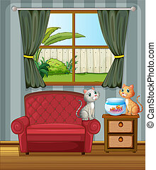 Two cats beside an aquarium - Illustration of two cats...