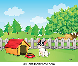 A small dog inside the fence - Illustration of a small dog...