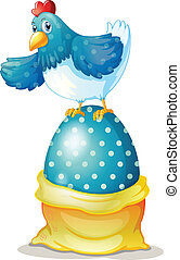 A hen above a big easter egg - Illustration of a hen above a...
