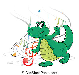 A dancing dinosaur - Illustration of a dancing dinosaur on a...