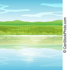 A calm blue lake