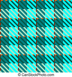 Turquoise check fabric - Illustration of tweed or tartan...
