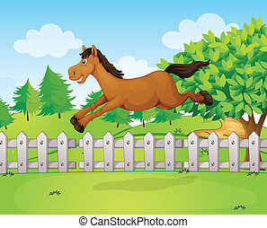 A jumping horse - Illustration of a jumping horse