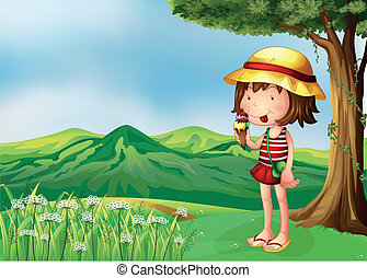 A girl eating an icecream at the top of the hills -...