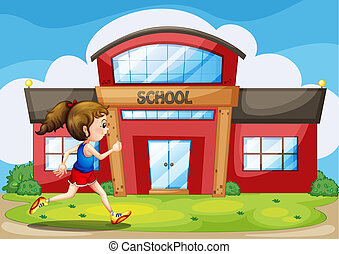 A girl in front of the school building
