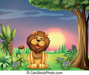 A happy face of a lion - Illustration of a happy face of a...