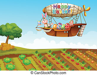 An airship passing over a farm - Illustration of an airship...
