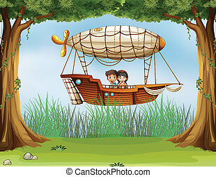 Kids riding in an airship - Illustration of kids riding in...