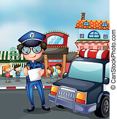 A policeman at a busy street - Illustration of a policeman...
