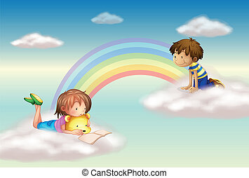 A rainbow with kids