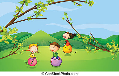Happy kids playing with the bouncing balls - Illustration of...