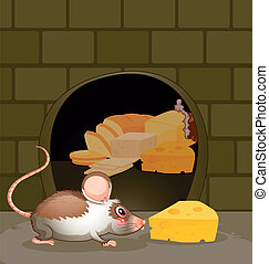 A hole at the wall with bread and cheese - Illustration of a...