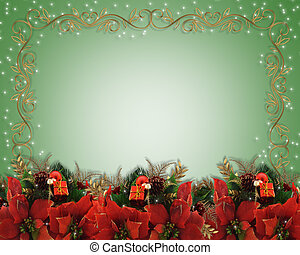 Christmas flowers border - Image and illustration...