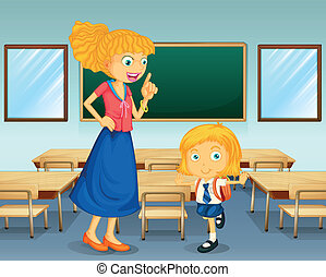 A teacher and a student - Illustration of a teacher and a...
