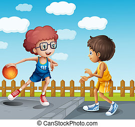 Two boys playing basketball - Illustration of two boys...
