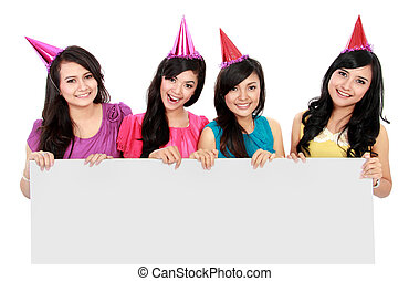 party girls with banner