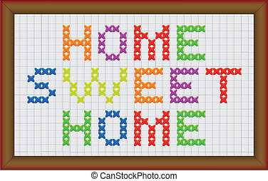 Home Sweet Home - A cross stitch home sweet home with frame...