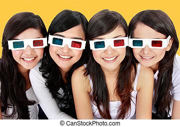 3d glasses woman portrait