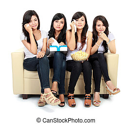 group of teenager watching romantic Movie - Group of...