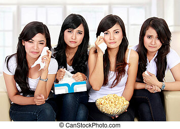 group of teenager watching sad Movie - Group of teenager...