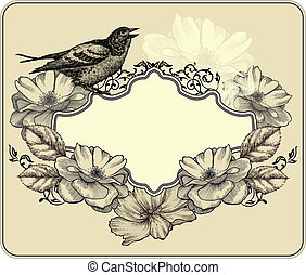 Vintage frame with bird and blooming roses. Vector illustration.