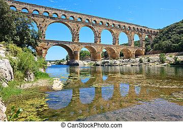 Roman aqueduct Pont du Gard, Languedoc, France. Unesco site....