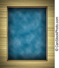 Gold frame isolated on Blue background