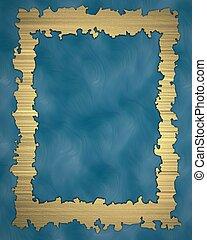 Grunge gold frame on blue background