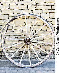 Old Vintage broken wood wheel in Provence on a traditional...