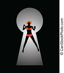 Silhouette of a woman figure seen through a key hole color...