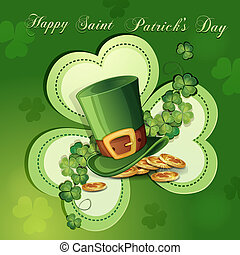 Saint Patricks Day card with clover ,hat and gold